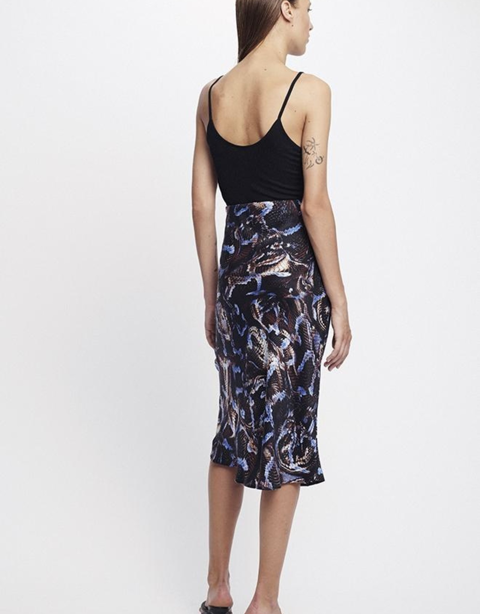 SILK LAUNDRY BIAS CUT SKIRT SNAKE