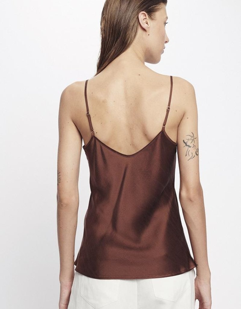 SILK LAUNDRY BIAS CUT CAMI CHOCOLATE