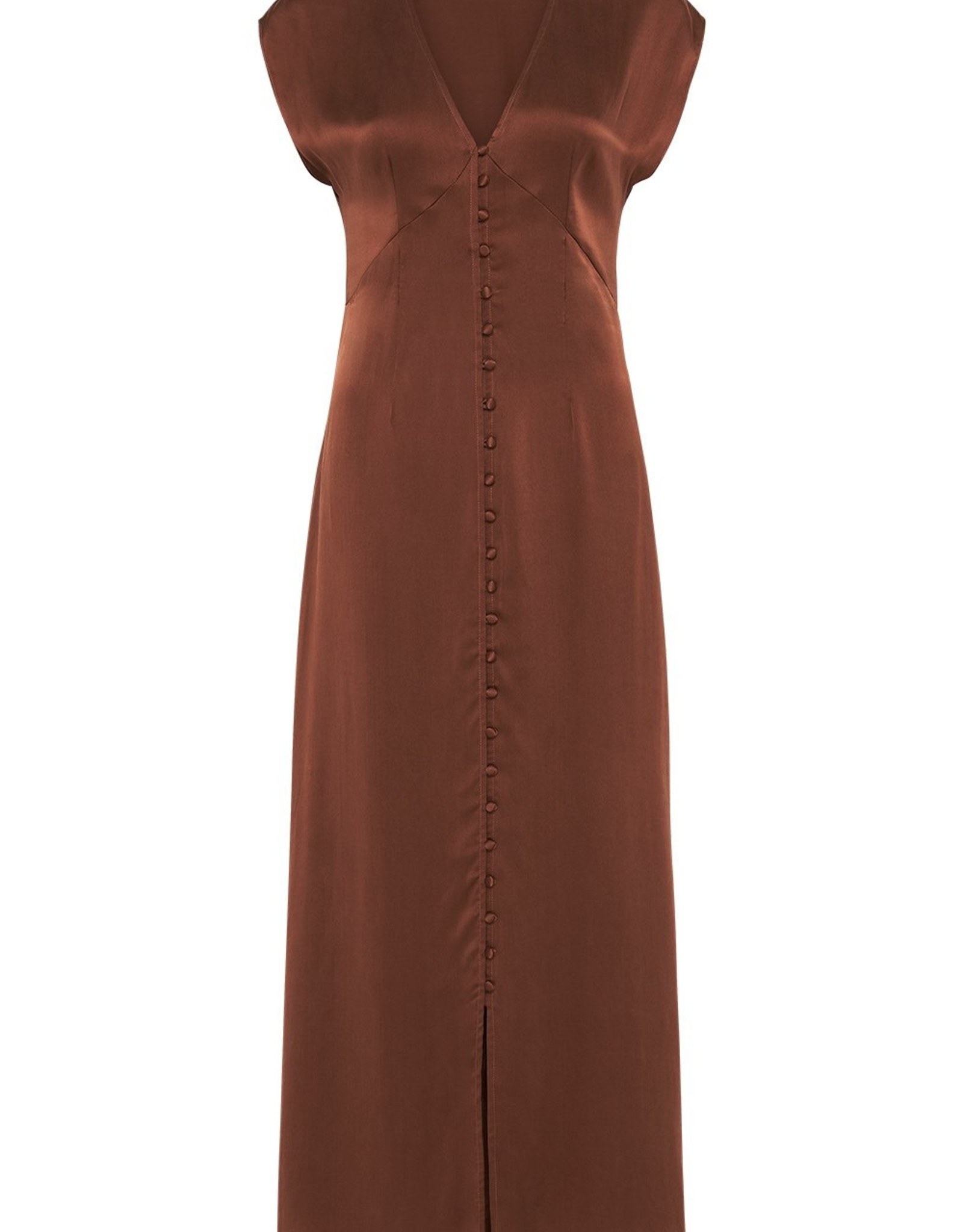 SILK LAUNDRY V NECK DRESS CHOCOLATE