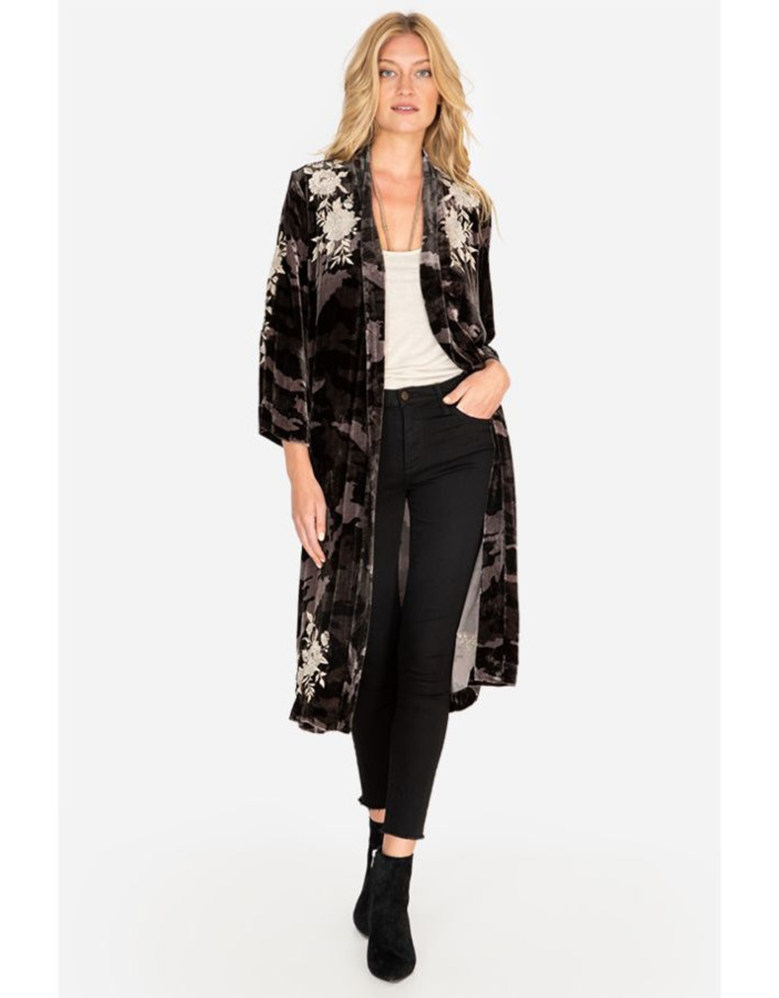 JOHNNY WAS SANTAL VELVET KIMONO COAT MOONLIGHT CAMO