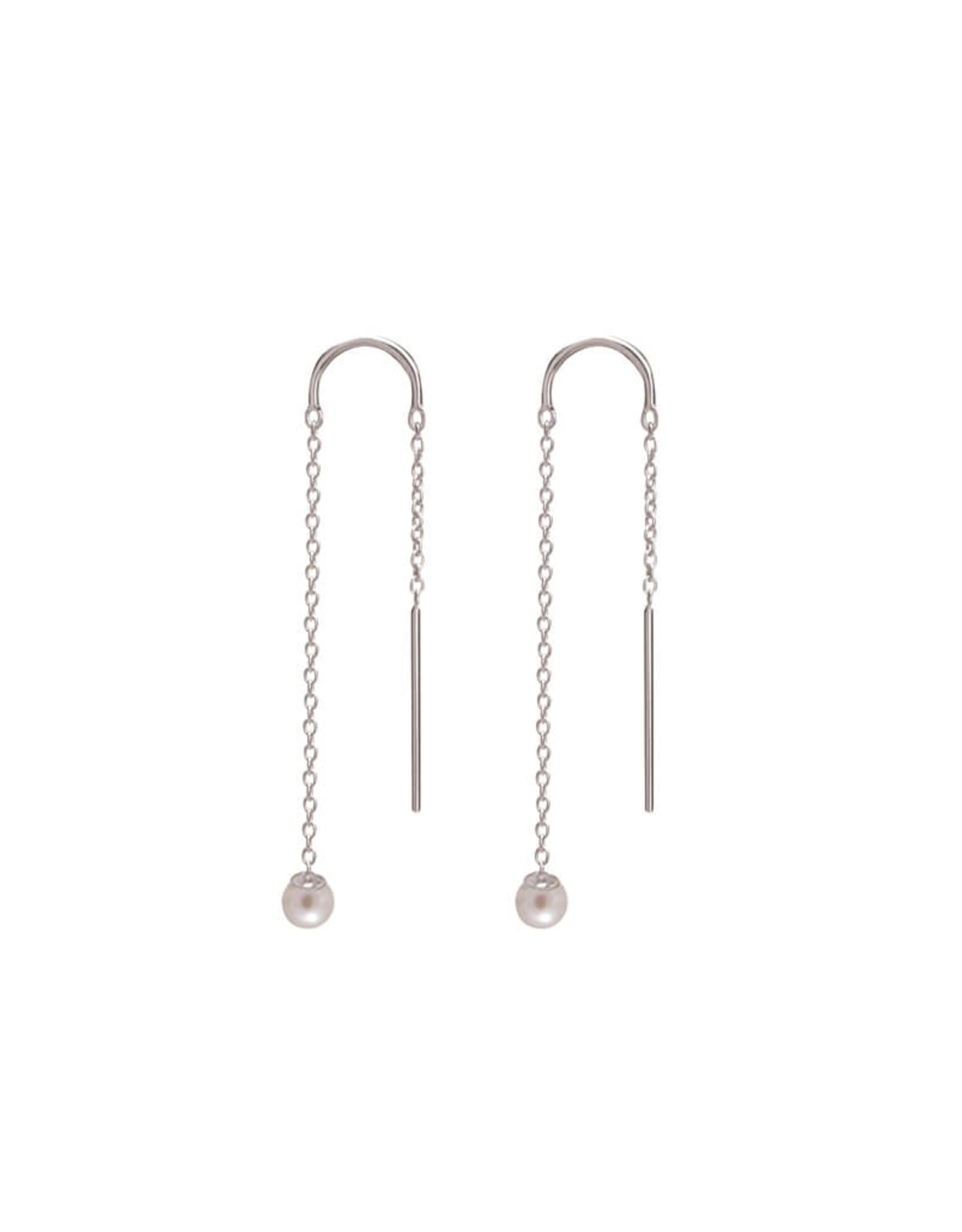 MURKANI RIVIERA PEARL THREAD EARRINGS STERLING SILVER WITH WHITE PEARL