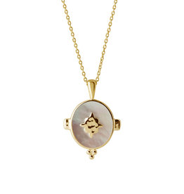 MURKANI OVAL NECKLACE WITH MOTHER OF PEARL YELLOW GOLD