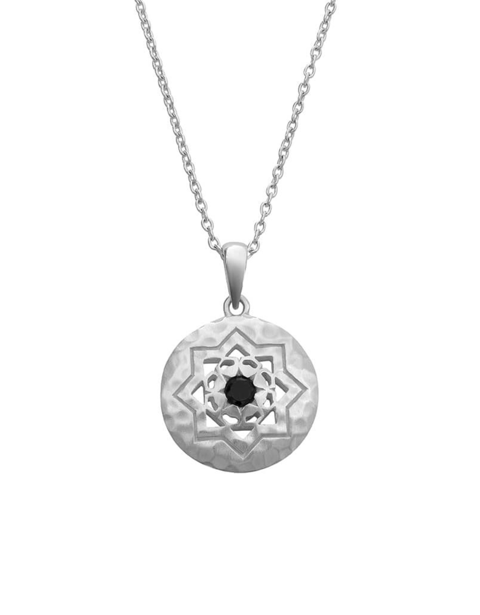 MURKANI ANDALUSIA NECKLACE WITH BLACK SPINEL STONE STERLING SILVER