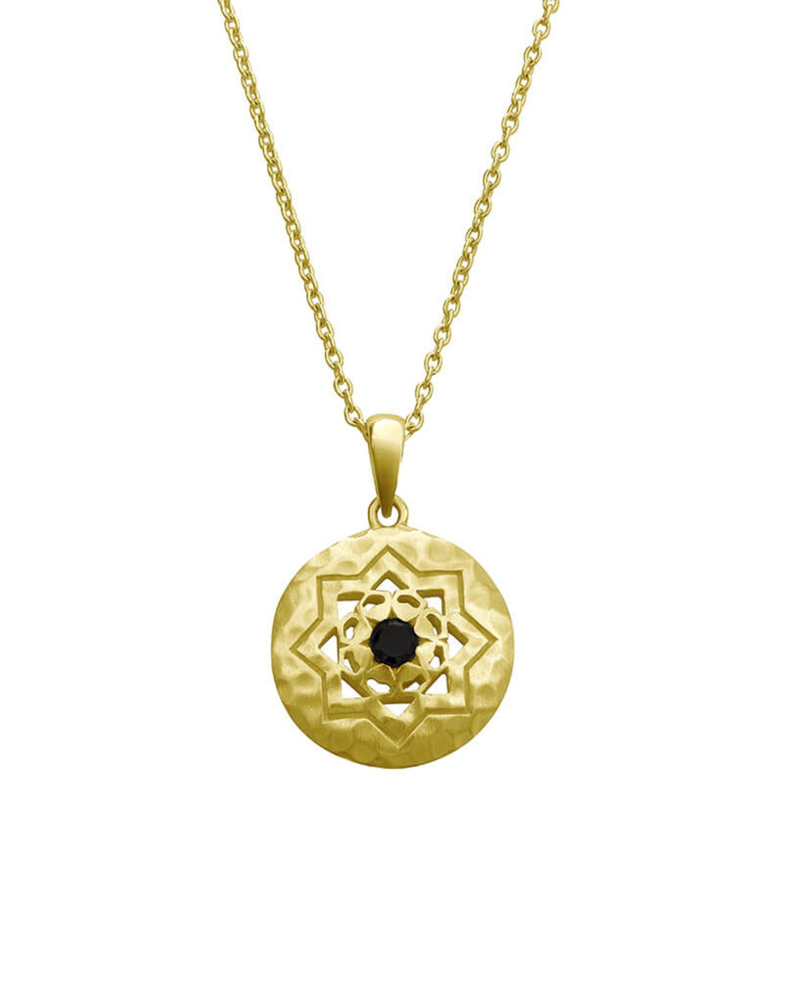 MURKANI ANDALUSIA NECKLACE WITH BLACK SPINEL STONE YELLOW GOLD