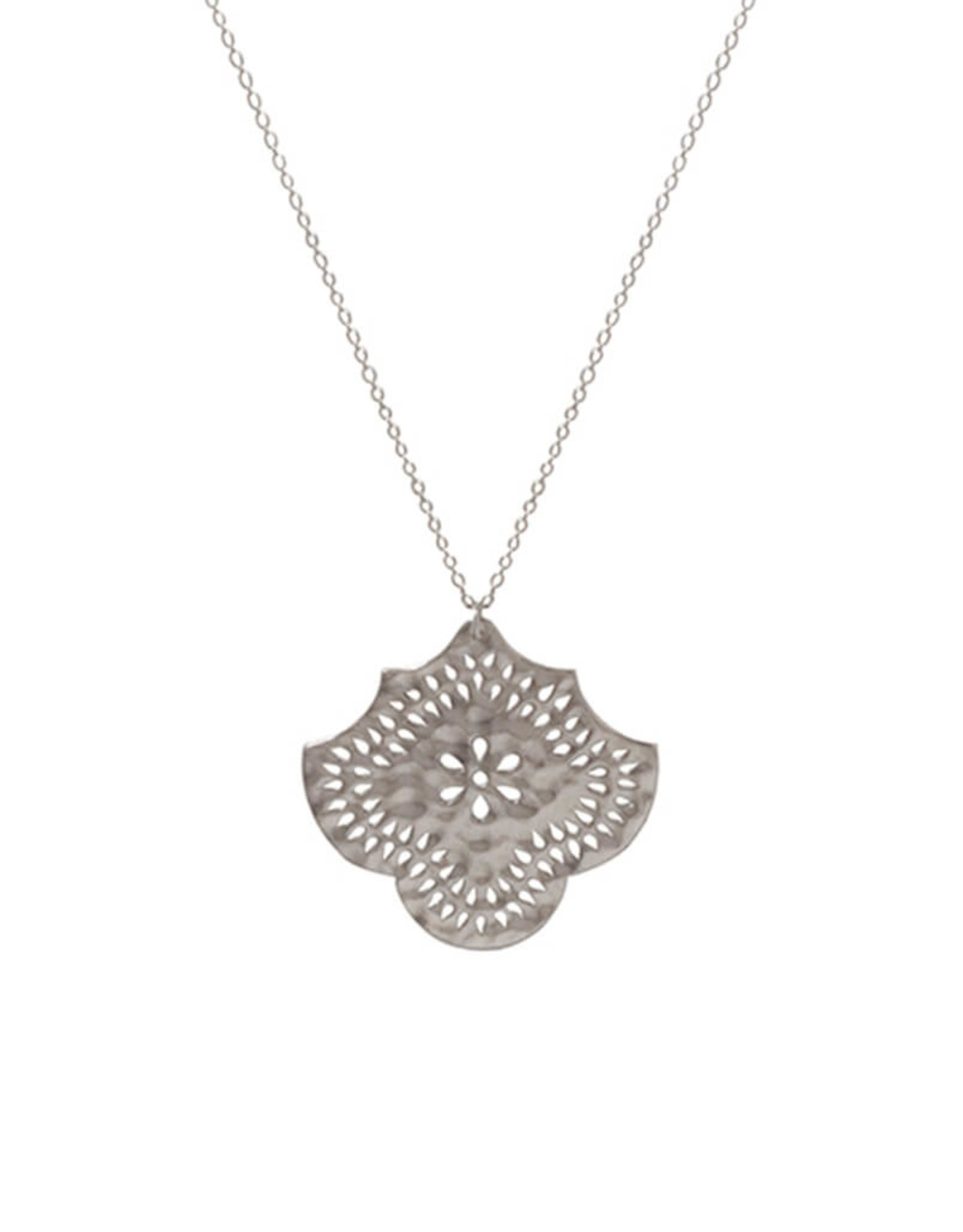 MURKANI LONG NECKLACE WITH FLOWER PENDANT STERLING SILVER