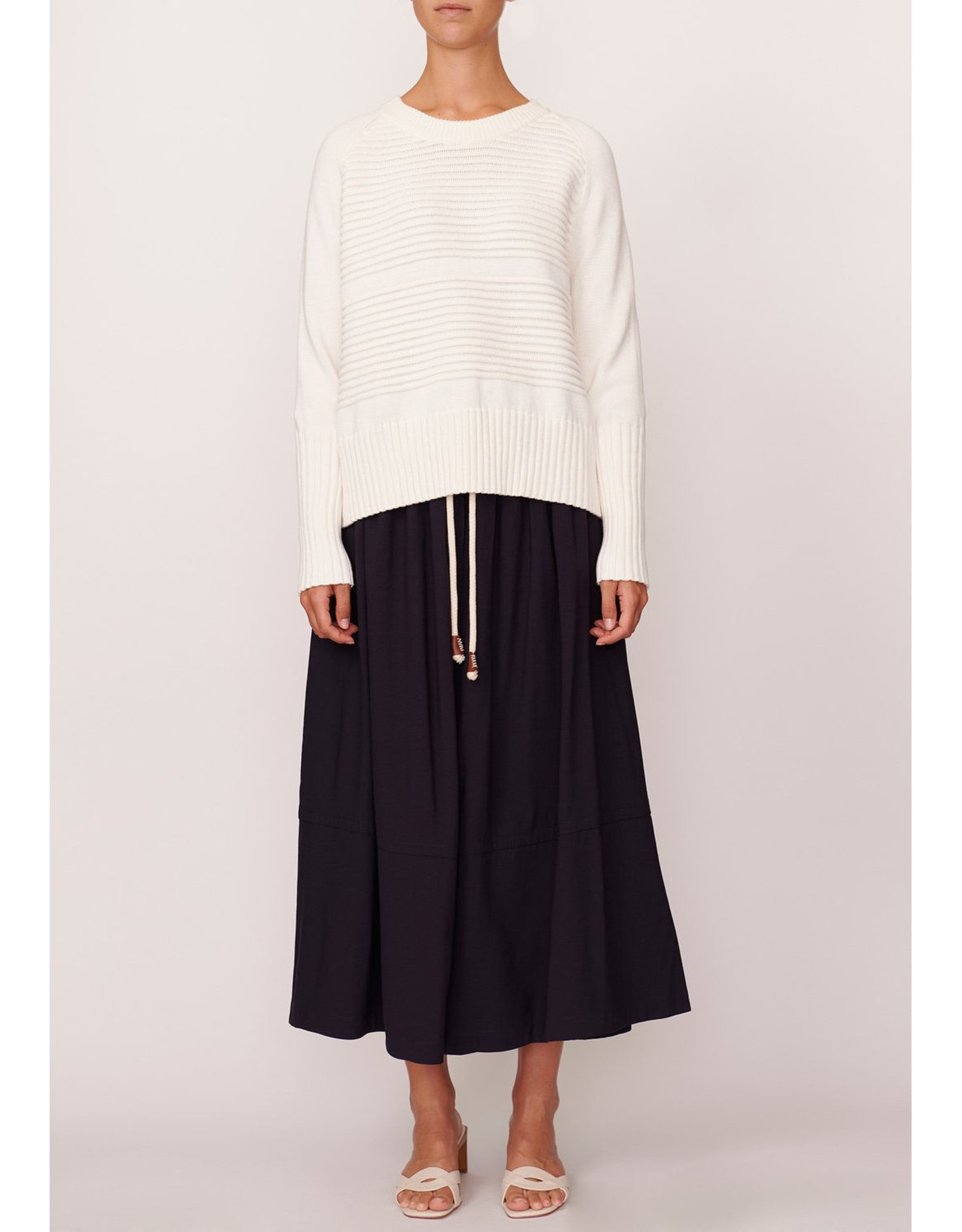 SALE - POL AERIAL RIBBED KNIT WHITE