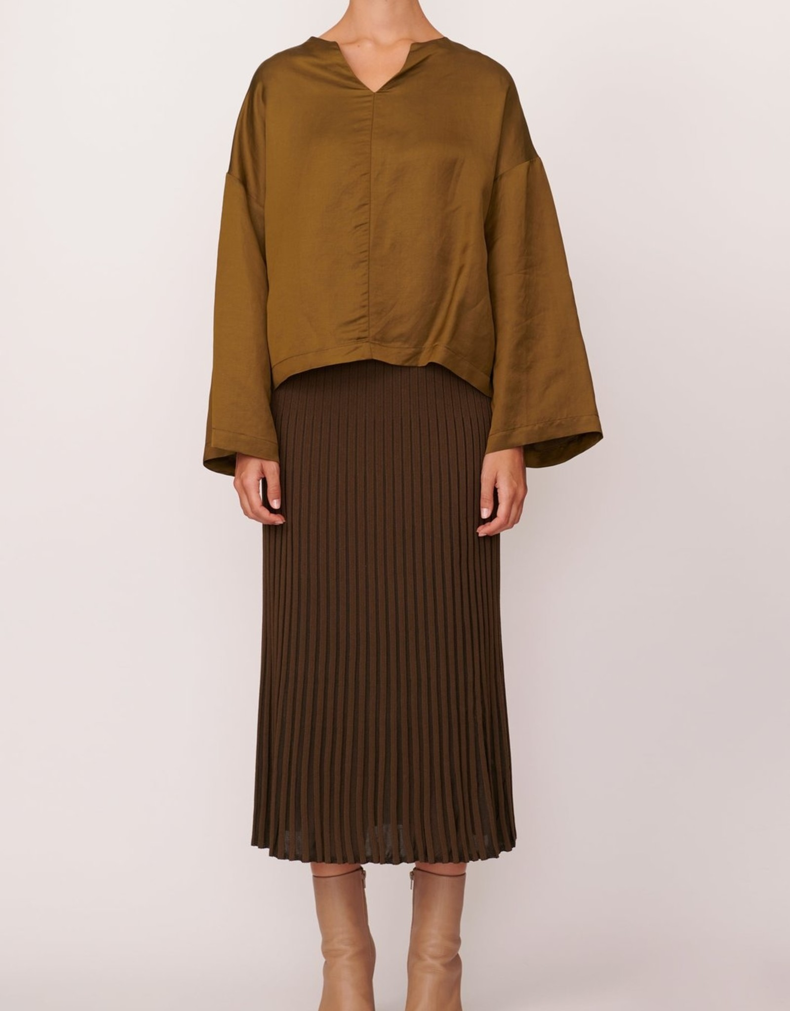 SALE - POL SCOPE RIBBED SKIRT KHAKI