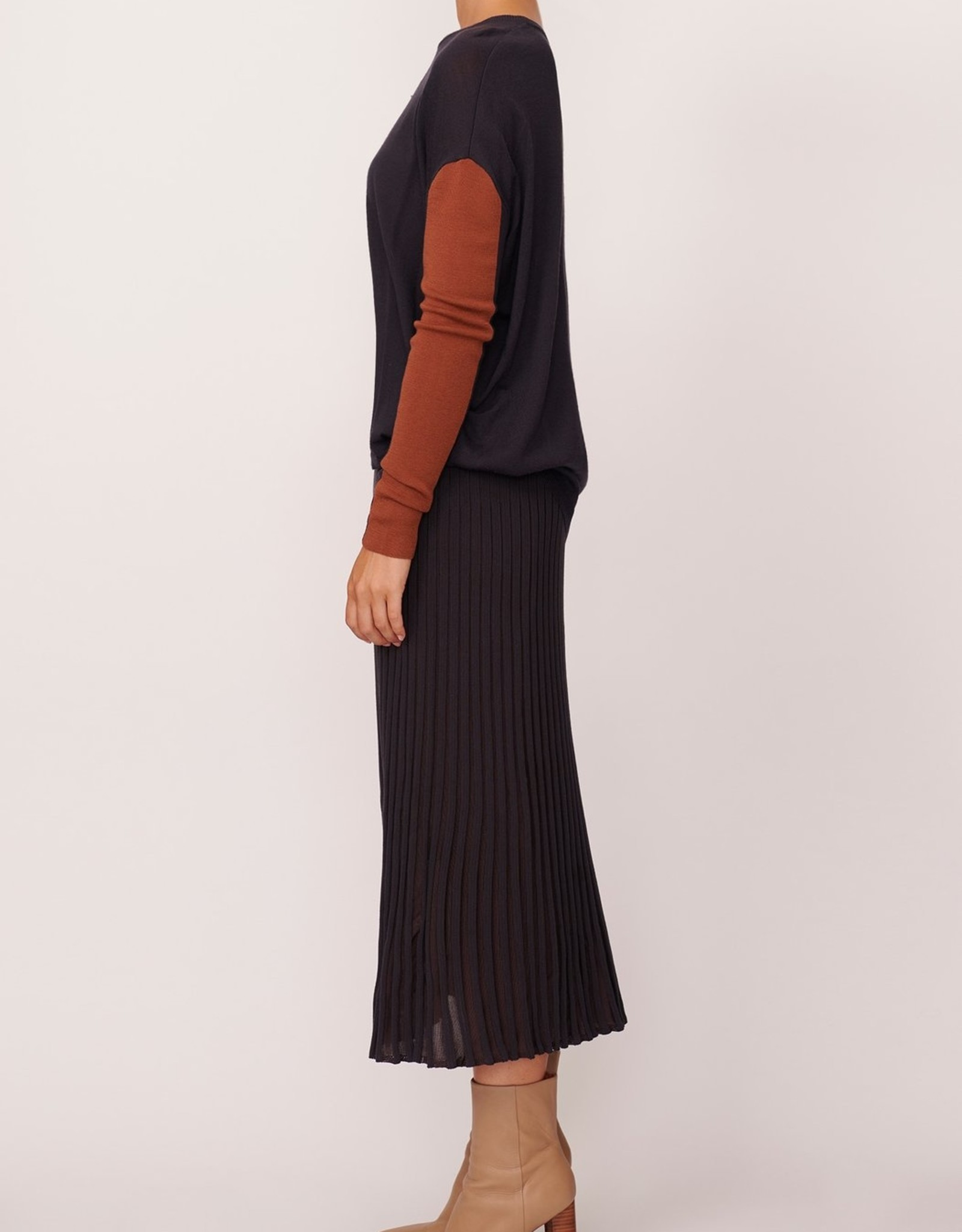 POL SCOPE RIBBED SKIRT SLATE
