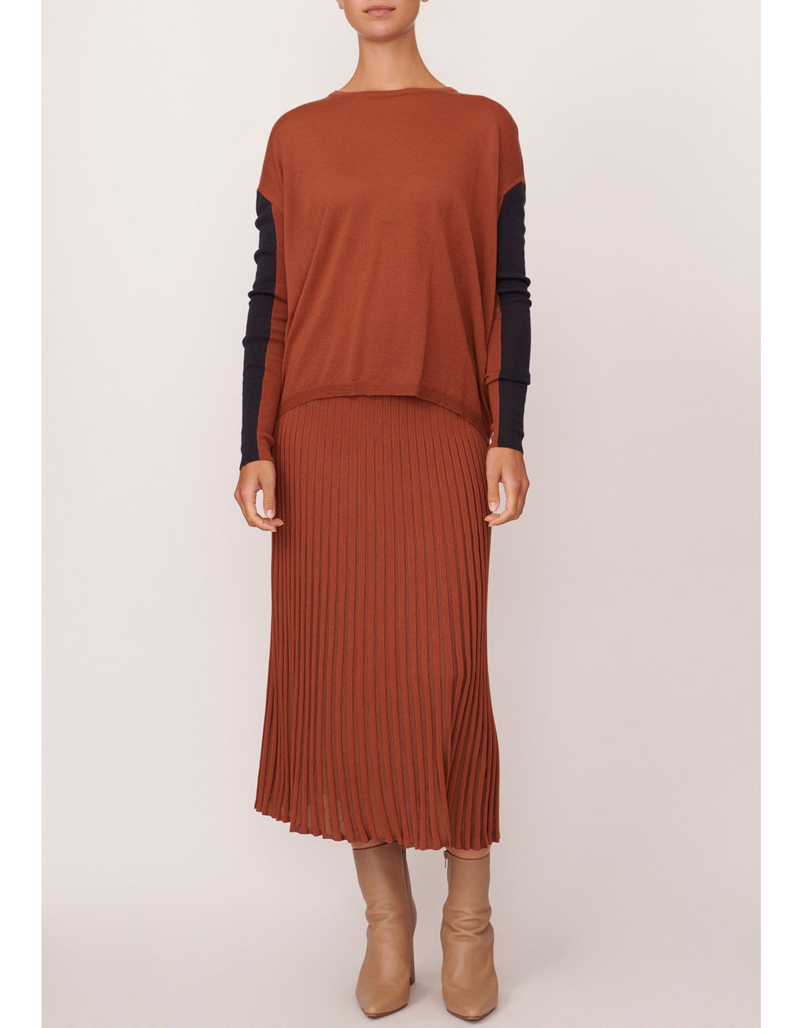 SALE - POL SCOPE RIBBED SKIRT RUST