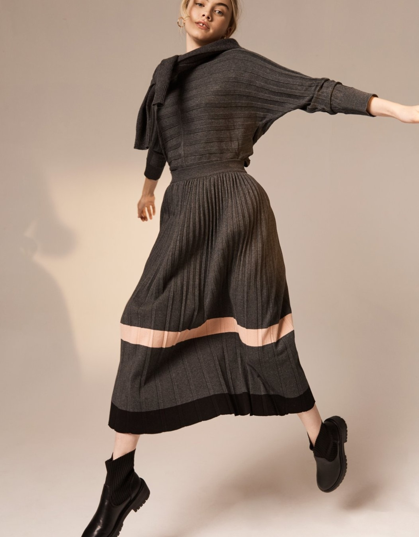 SALE - POL MAPLE PLEATED KNIT SKIRT SLATE MULTI