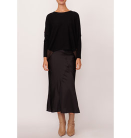 SALE - POL HUNTER DRAPED KNIT BLACK COFFEE