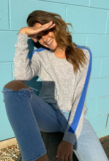 SOPHIE MORAN CASHMERE ARM STRIPE SWEATER GREY MARLE & COBALT BLUE