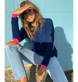 SOPHIE MORAN CASHMERE ARM PATCH SWEATER NAVY & FLURO PINK
