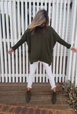 THE KNIT STUDIO MERINO SPLIT CREW NECK KHAKI