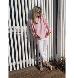 THE KNIT STUDIO MERINO SPLIT CREW NECK PALE PINK
