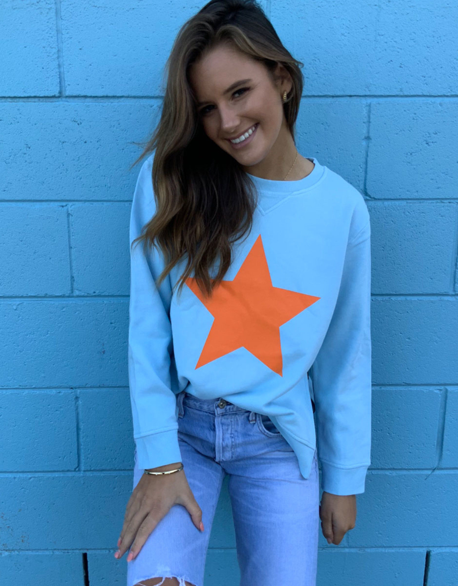 SOPHIE MORAN ZIP STAR SWEATSHIRT BABY BLUE & ORANGE