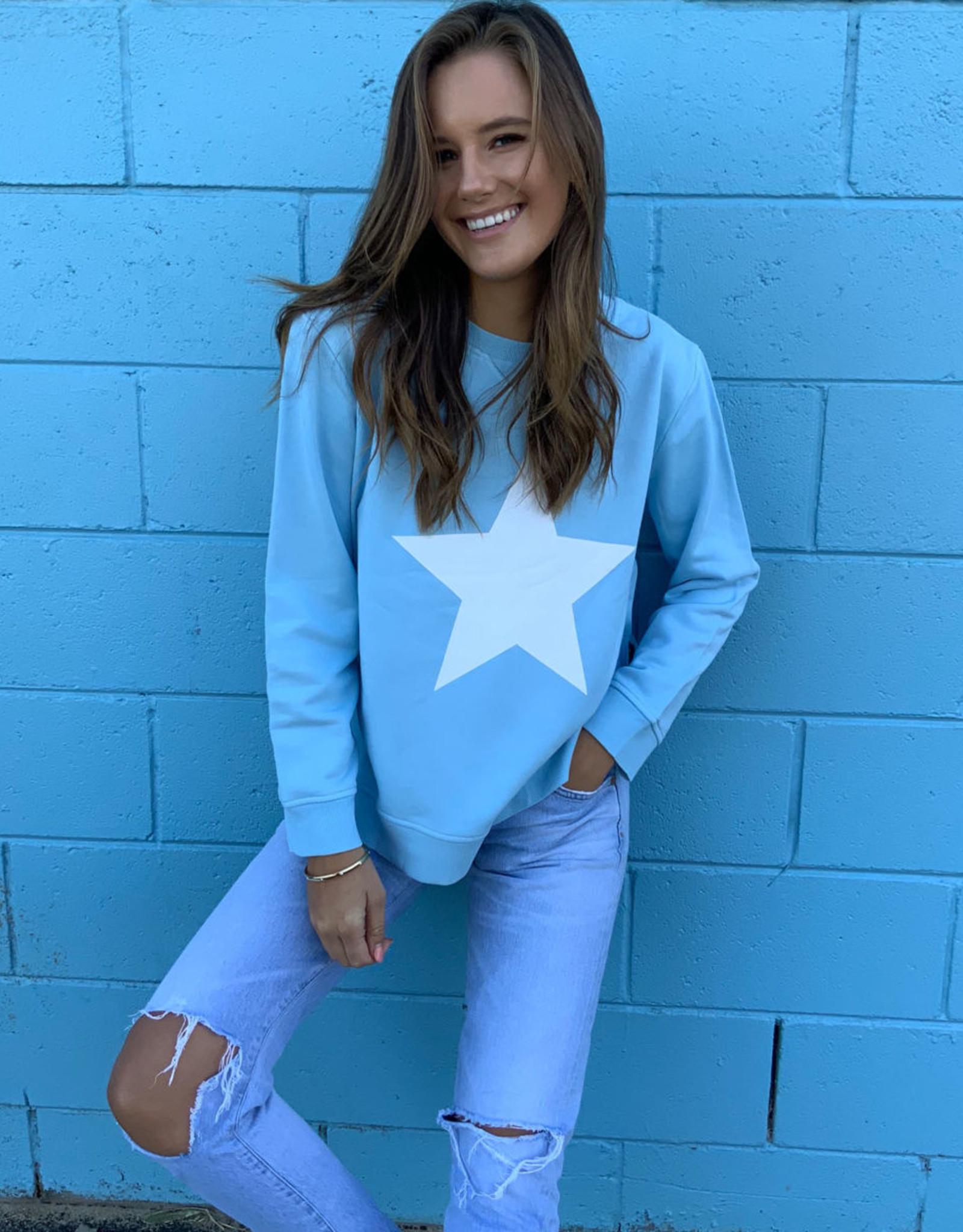 SOPHIE MORAN ZIP STAR SWEATSHIRT BABY BLUE & WHITE