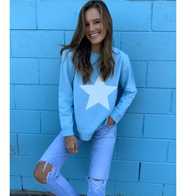SOPHIE MORAN ZIP STAR SWEATSHIRT BABY BLUE & WHITE
