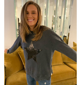 SOPHIE MORAN ZIP SEQUIN STAR SWEATSHIRT SOFT BLACK