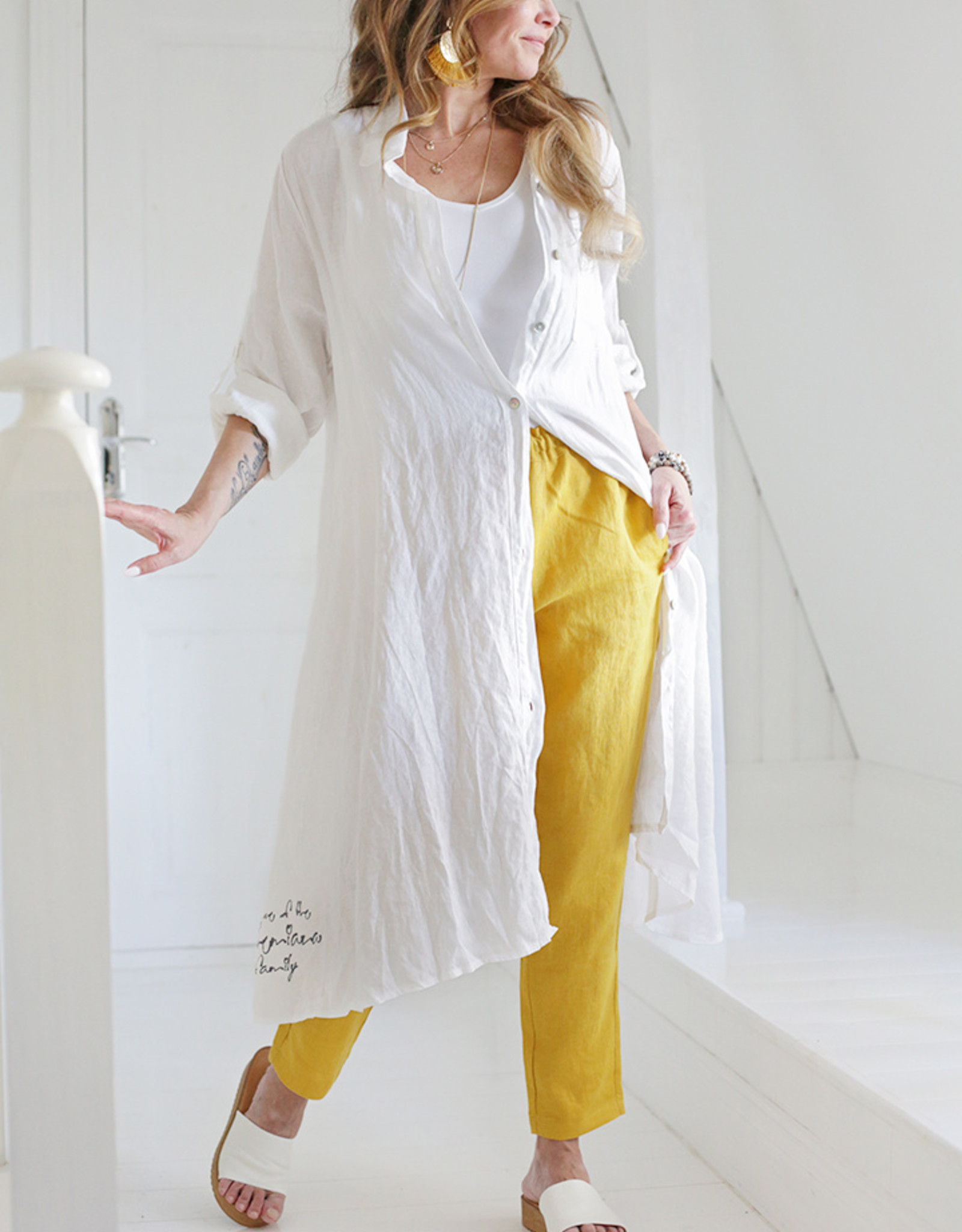 BYPIAS FOOL FOR LOVE LINEN TUNIC WHITE