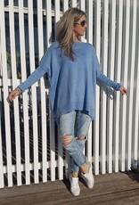 THE KNIT STUDIO MERINO SPLIT CREW NECK BLUE