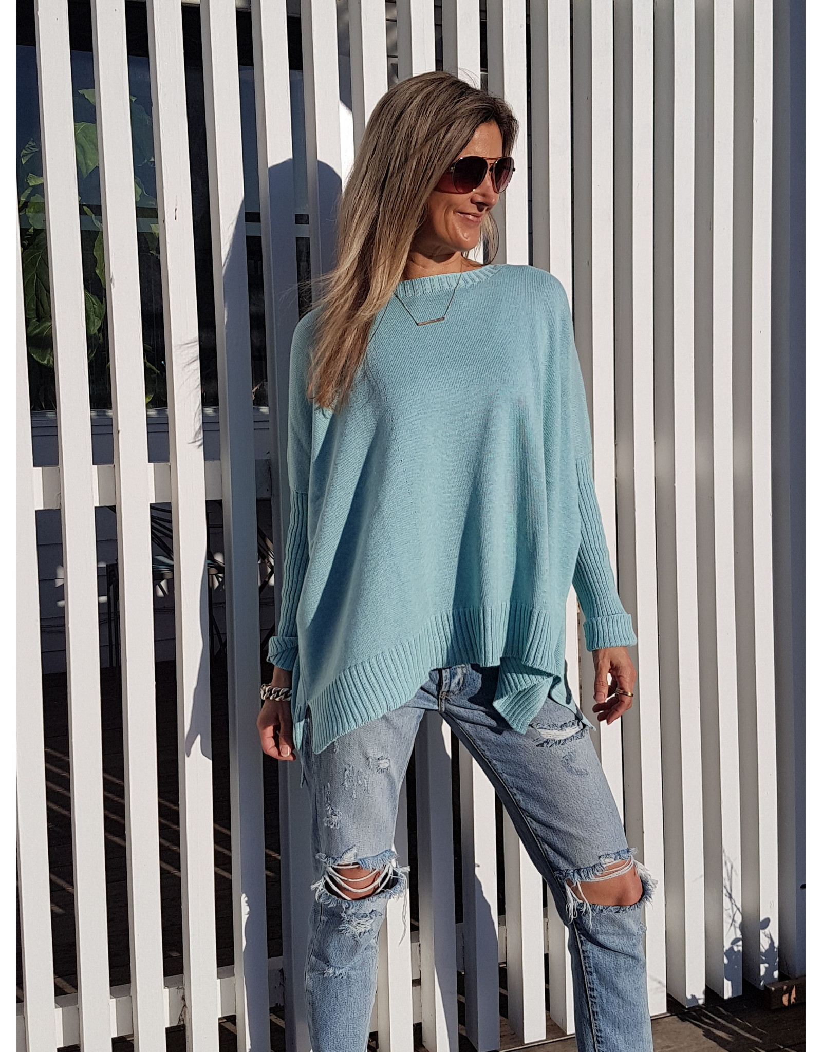 THE KNIT STUDIO SPLIT CREW NECK COTTON MINT