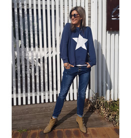 SOPHIE MORAN ZIP STAR SWEATSHIRT NAVY & WHITE
