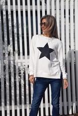 SOPHIE MORAN ZIP SEQUIN STAR SWEATSHIRT WHITE & BLACK