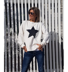 SOPHIE MORAN ZIP SEQUIN STAR SWEATSHIRT WHITE & BLACK