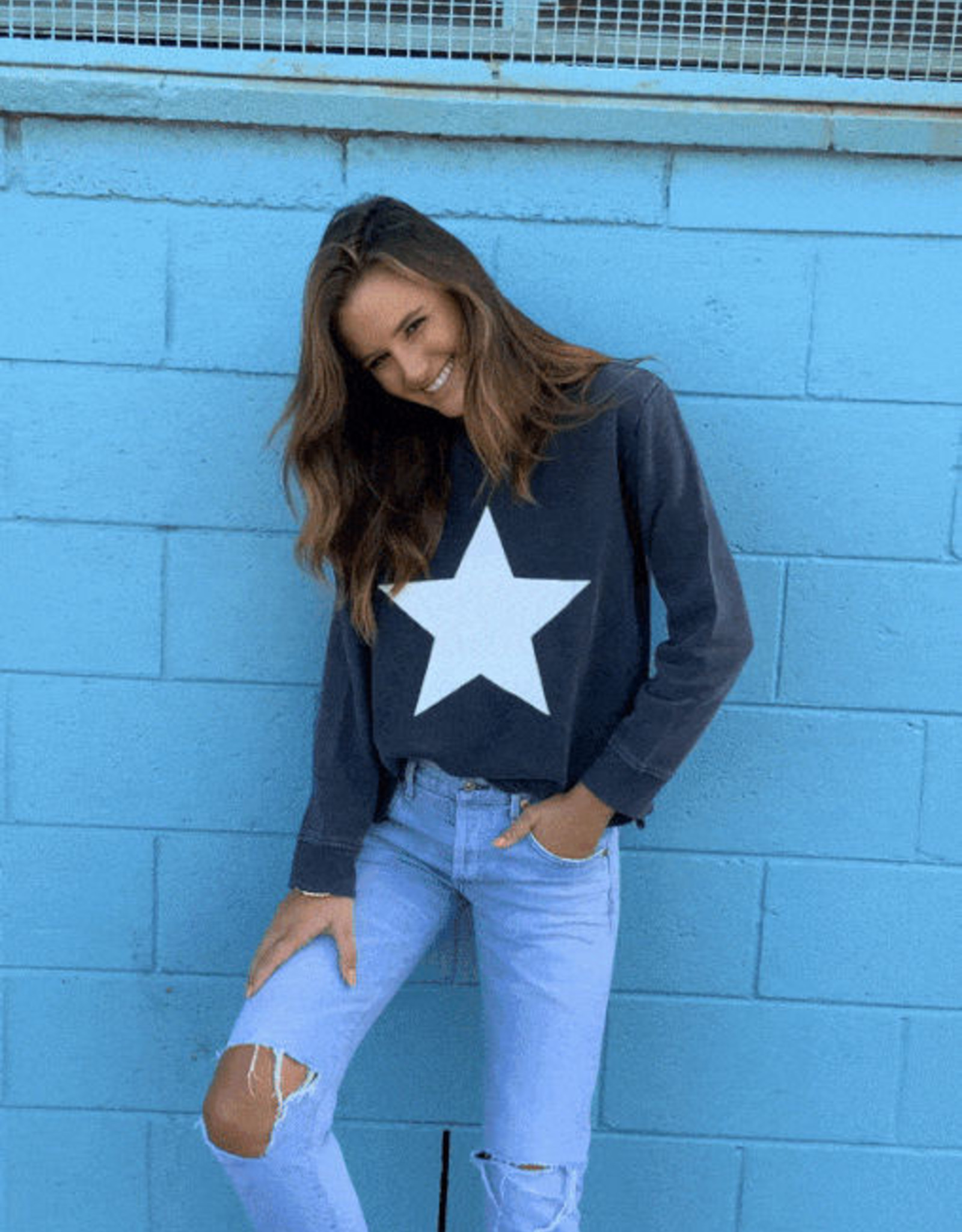SOPHIE MORAN ZIP STAR SWEATSHIRT SOFT BLACK & WHITE