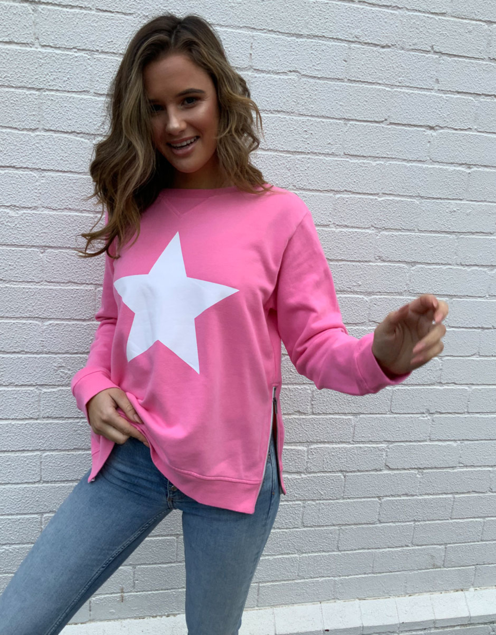 SOPHIE MORAN ZIP STAR SWEATSHIRT WINTER PINK & WHITE