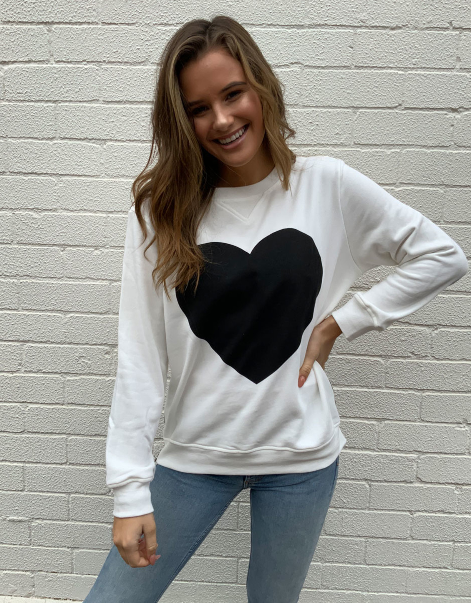 SOPHIE MORAN ZIP SWEATSHIRT WINTER WHITE & BLACK HEART