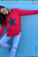 SOPHIE MORAN ZIP STAR SWEATSHIRT RED & NAVY