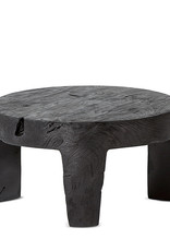 SATARA LOGAN ROUND SIDE TABLE CHARCOAL TEAK