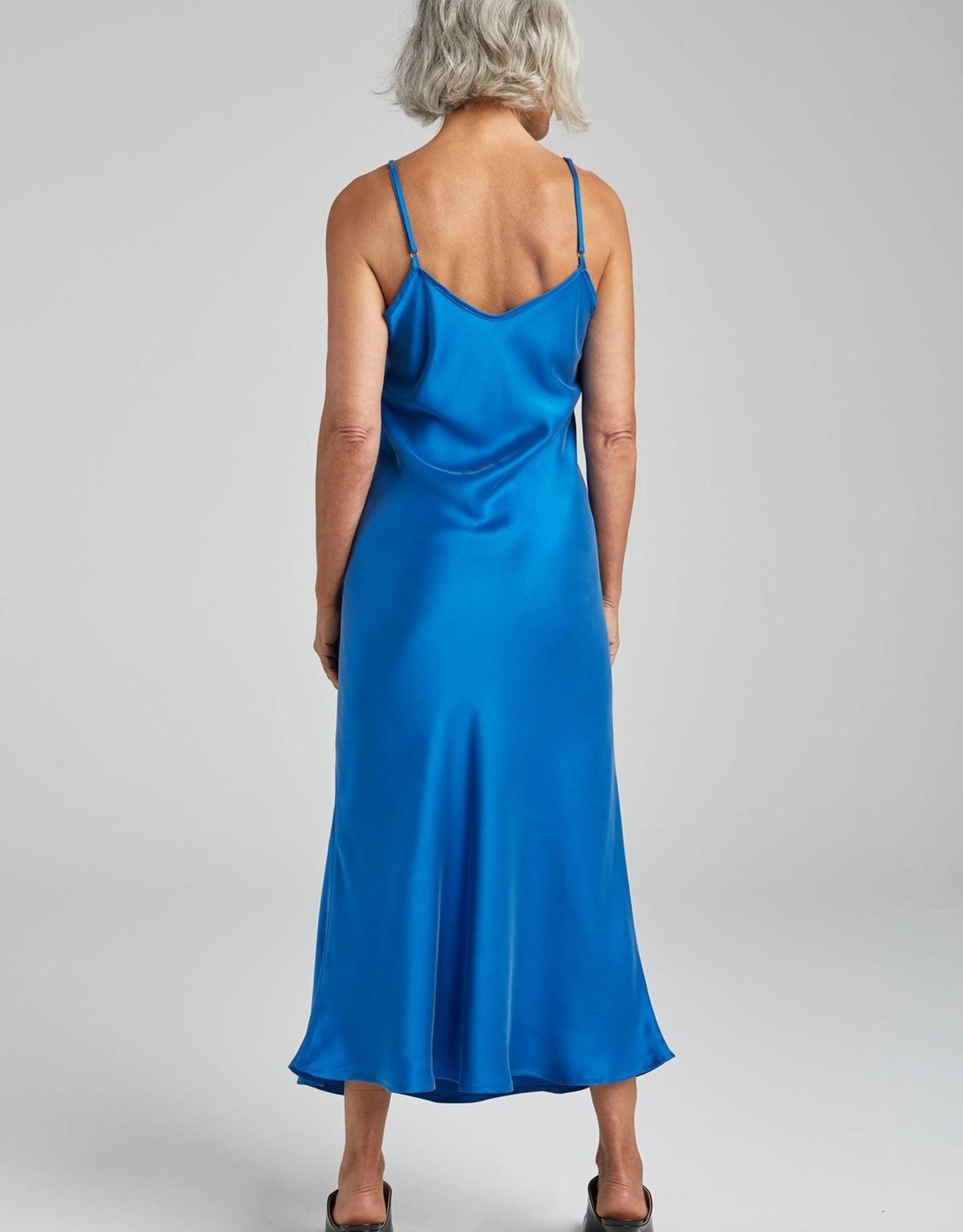 SILK LAUNDRY 90S SILK SLIP DRESS COBALT BLUE