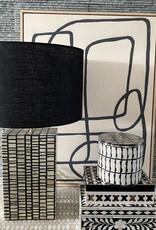BONE INLAY LAMP BASE WITH BLACK LINEN DRUM SHADE