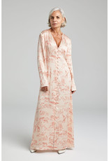 SILK LAUNDRY LONG SLEEVED V NECK DRESS SERENGETI