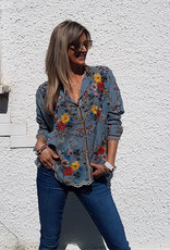 SALE - JOHNNY WAS CABO BUTTON DOWN BLOUSE SKY BLUE