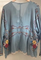 JOHNNY WAS CABO BUTTON DOWN BLOUSE SKY BLUE