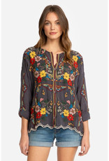 JOHNNY WAS CABO BUTTON DOWN BLOUSE GRAPHITE