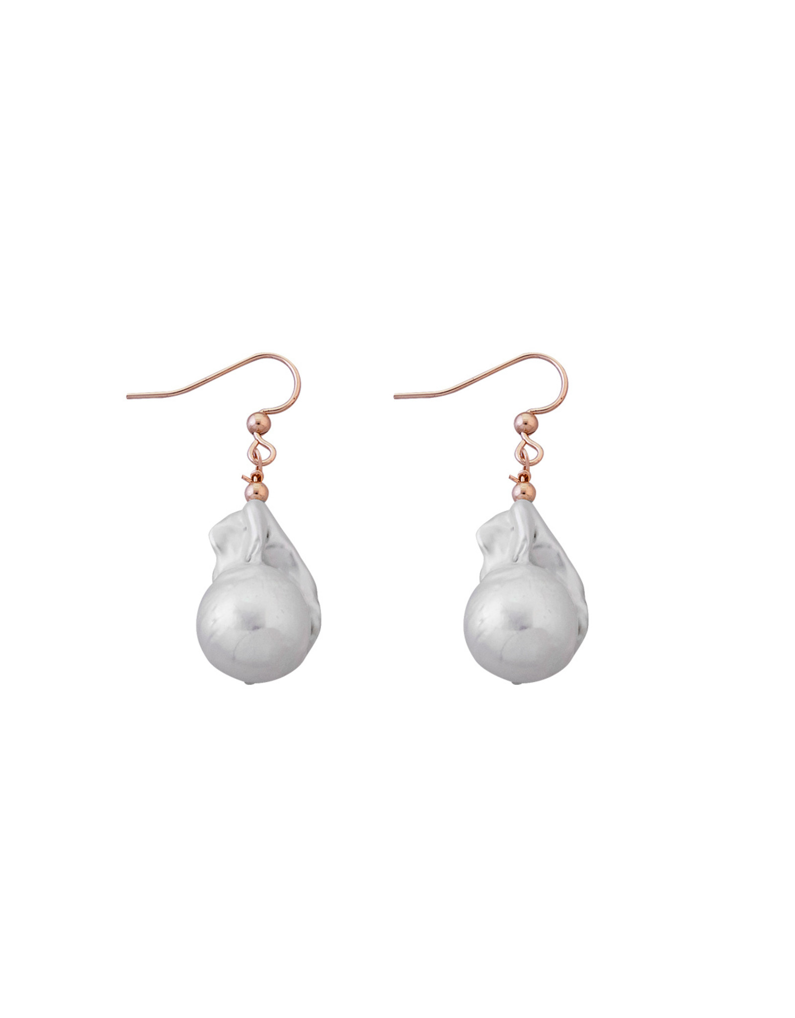 VON TRESKOW LARGE BAROQUE PEARL EARRINGS ROSE GOLD