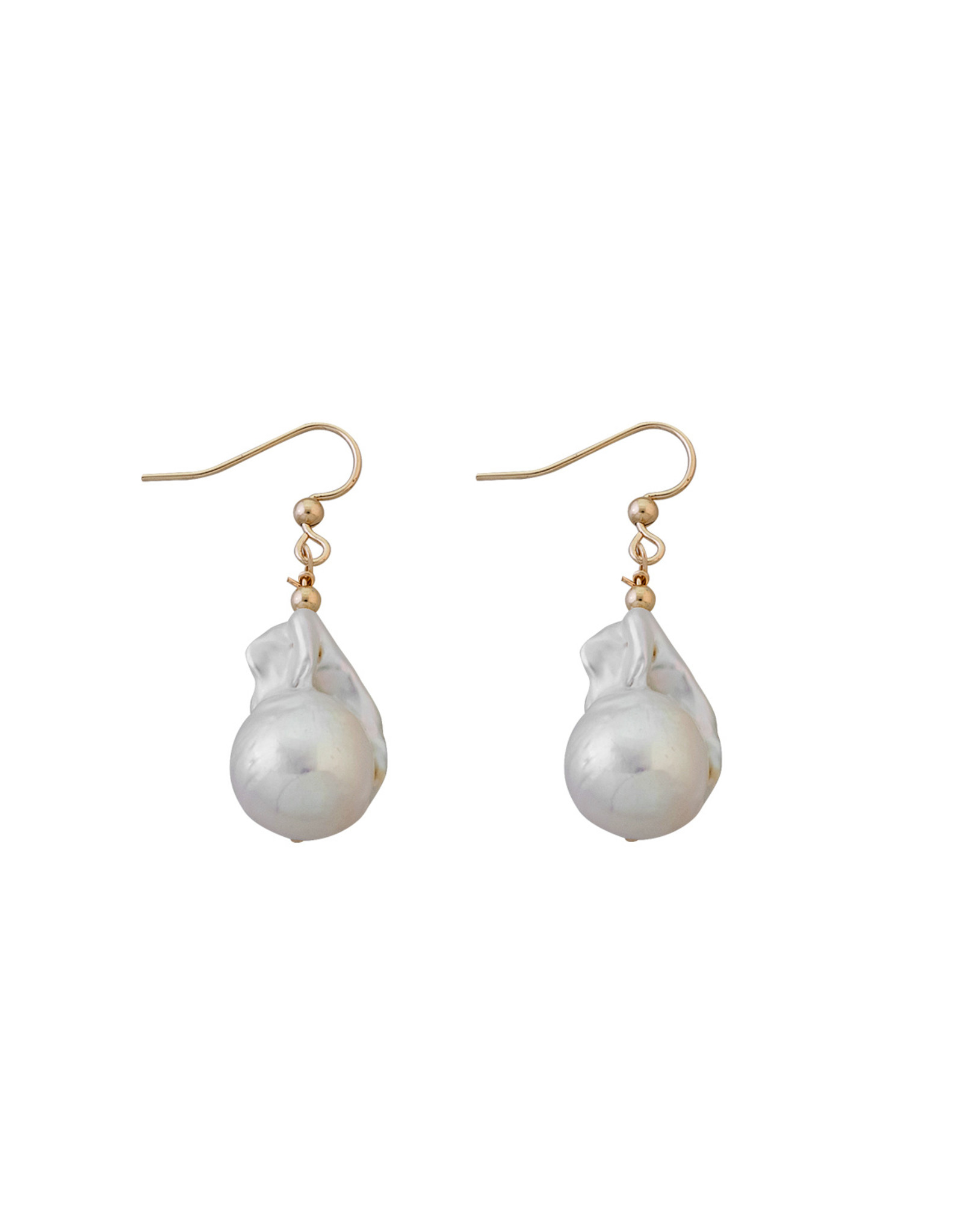 VON TRESKOW LARGE BAROQUE PEARL EARRINGS YELLOW GOLD