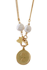 VON TRESKOW KESHI PEARL AND SIXPENCE NECKLACE YELLOW GOLD