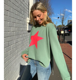 SOPHIE MORAN ZIP STAR SWEATSHIRT SOFT KHAKI & RED
