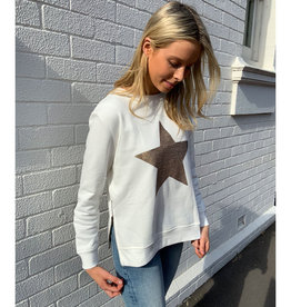 SOPHIE MORAN ZIP SEQUIN STAR SWEATSHIRT WINTER WHITE & GOLD