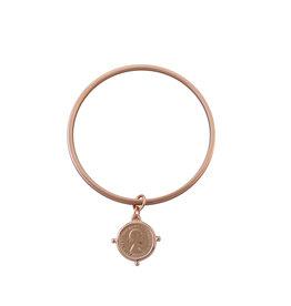 VON TRESKOW FLAT EDGE COIN BANGLE ROSE GOLD