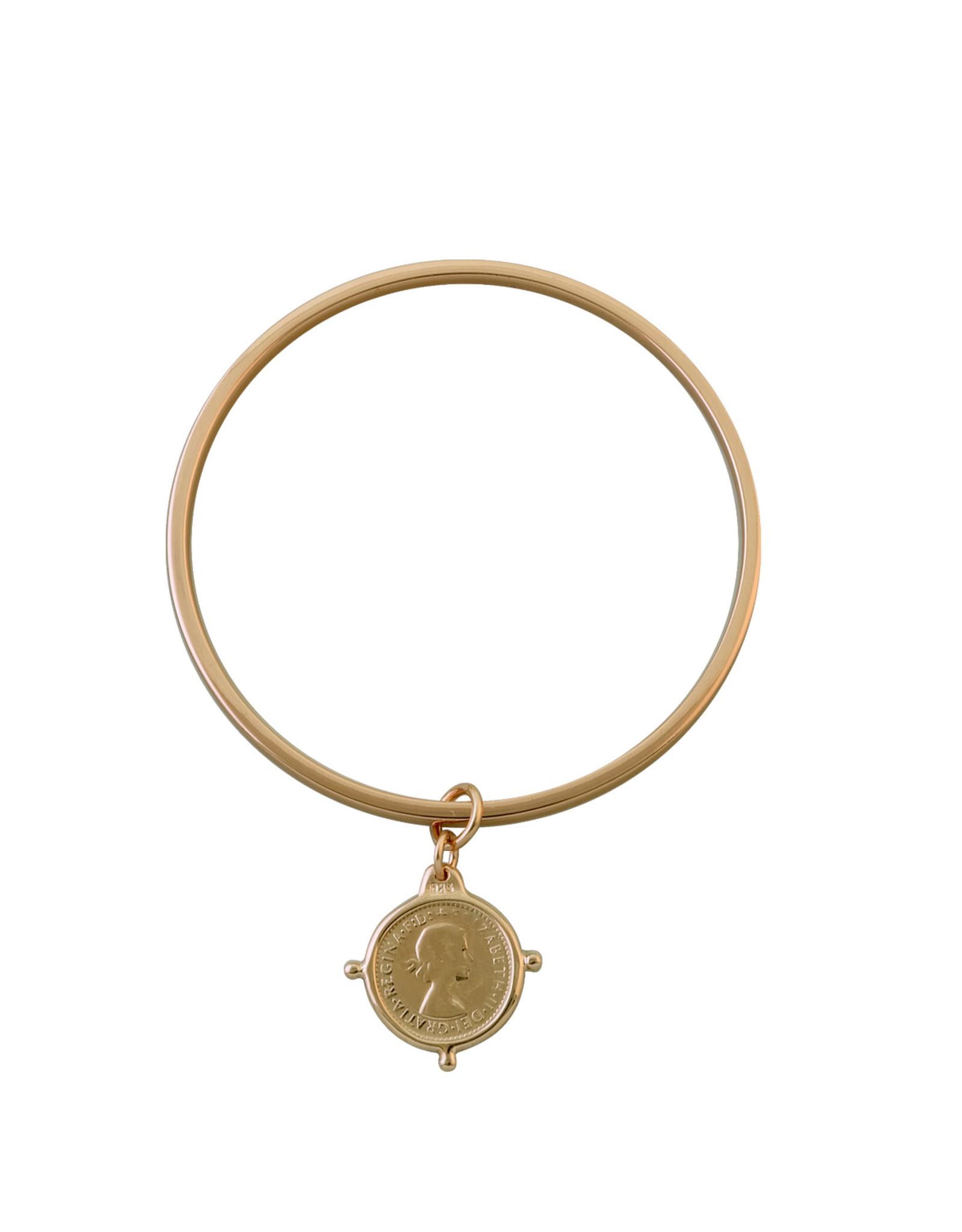 VON TRESKOW FLAT EDGE COIN BANGLE YELLOW GOLD