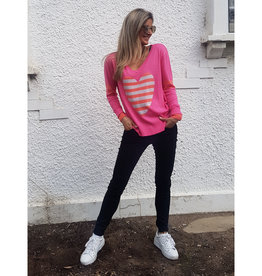 SOPHIE MORAN STRIPE HEART SWEATER WATERMELON PINK & GUAVA