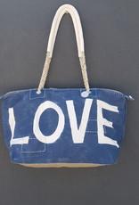 ALI LAMU LARGE WEEKEND BAG NAVY CREAM LOVE