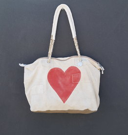 ALI LAMU LARGE WEEKEND BAG CREAM RED HEART